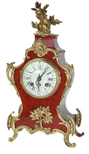 Mantel Clocks . French red shell strike